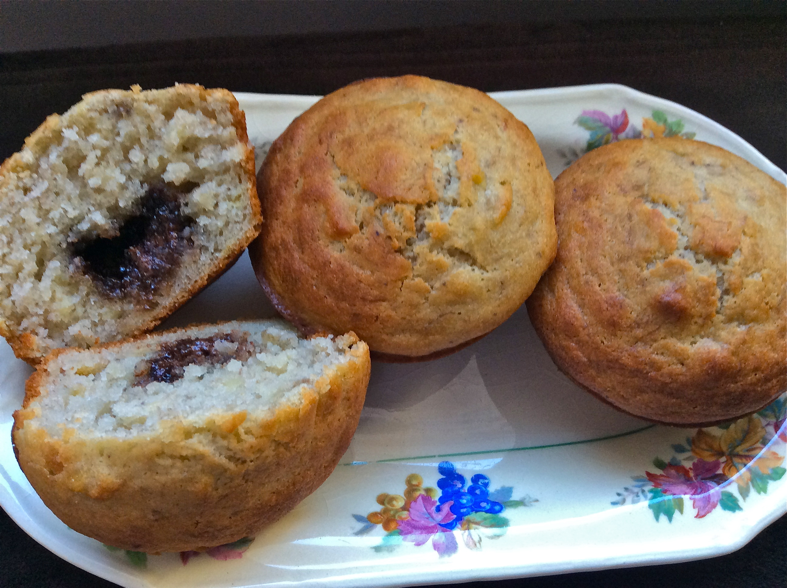Gluten Free Banana Muffins with Nutella Bomb