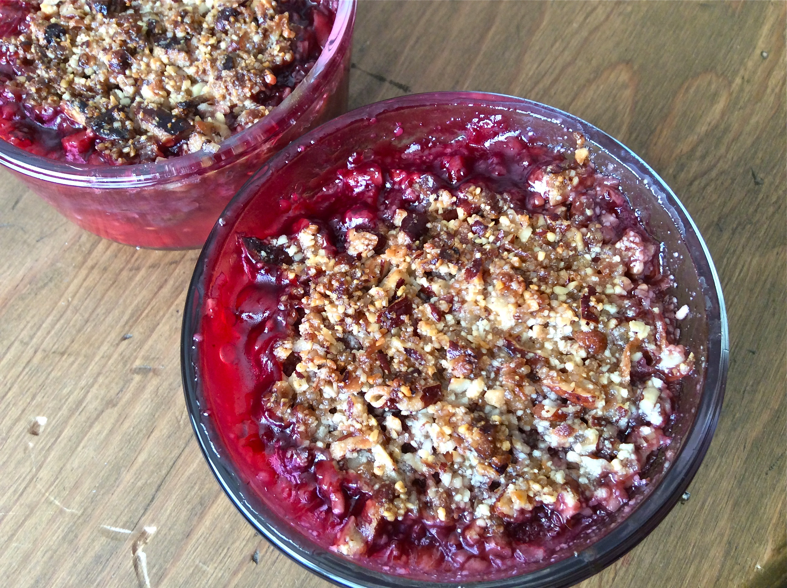 Rhubarb and Raspberry Crumble - Paleo-style