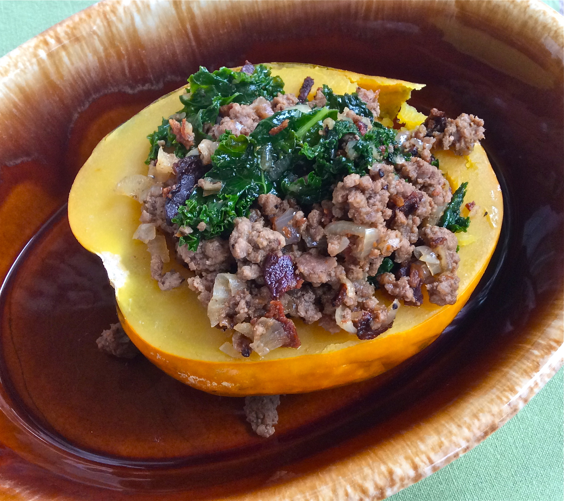 Beef, Bacon & Kale Stuffed Acorn Squash